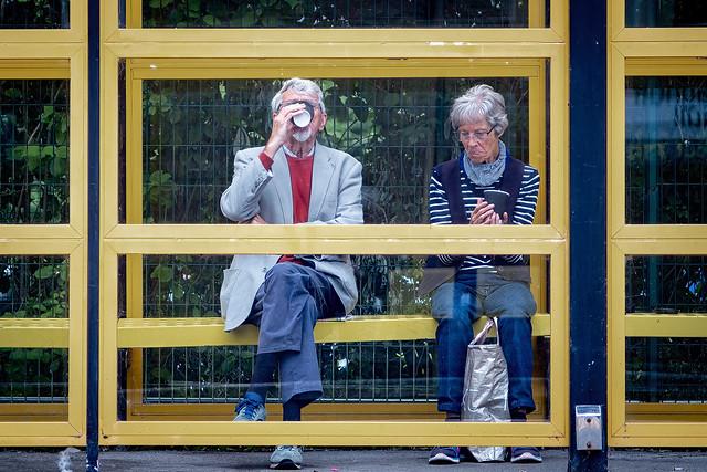 Waiting at a railway station.