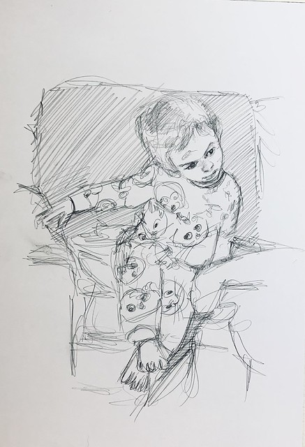 My Great Granddaughter looking Coy when talked to by her grandmother. Graphite pencil drawing by jmsw on card. Stage 1. Only on this site. To be continued.