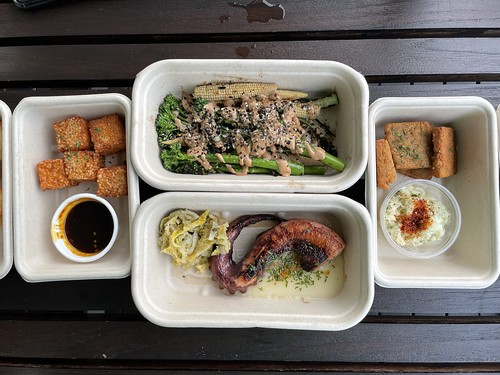 Clockwise from top: BBQ Green Vegetables, Bacalhau Montecato, Chargrilled Spanish Octopus, Dadinhos de Sago