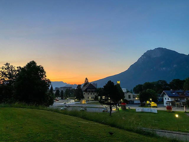Dawn over Kiefersfelden in the river Inn valley with Zahmer Kaiser mountains in Bavaria, Germany