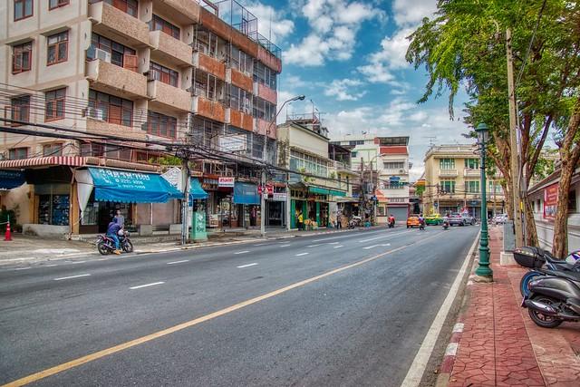 Thanon Ti Thong road on Rattanakosin Island (Old Town) in Bangkok, Thailand