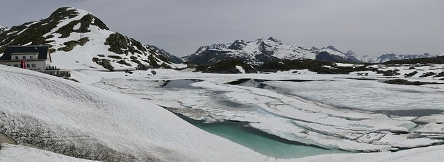 Grimsel Pass Switzerland with frozen lake