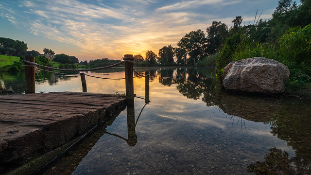Calm lake sunset