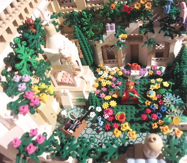Classic Castle: The Queens Secret flower Garden her paradise on earth and joy of her heart (LEGO AFOL Vignette Girls lego style) (cuteness WARNING!)