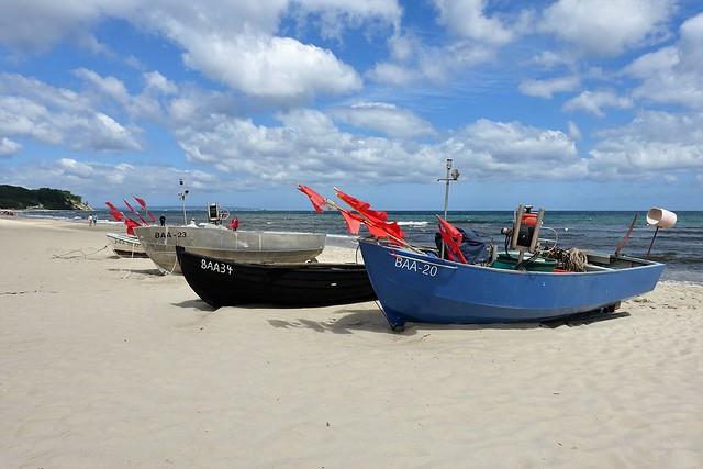 Fischerboote am Strand von Baabe, Rügen