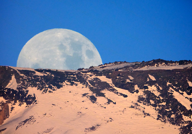 Moonrise over Andes Mountains