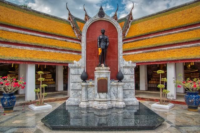 Statue of Ananda Mahidol at Wat Suthat Thepwararam Ratchaworahawihan on Rattanakosin island (Old Town) in Bangkok, Thailand