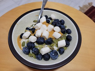 Veronica Mars Breakfast: Yoghurt, PB, peptias, blueberries, mini Dandies
