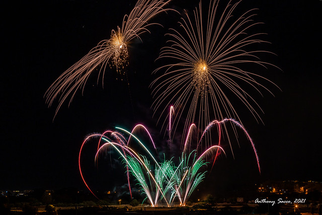 Fireworks display for the feast of St Catherine, Zejtun, Malta. 2021