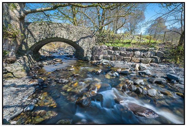 Glenderaterra Beck flowing into the River Greta, Cumbria.