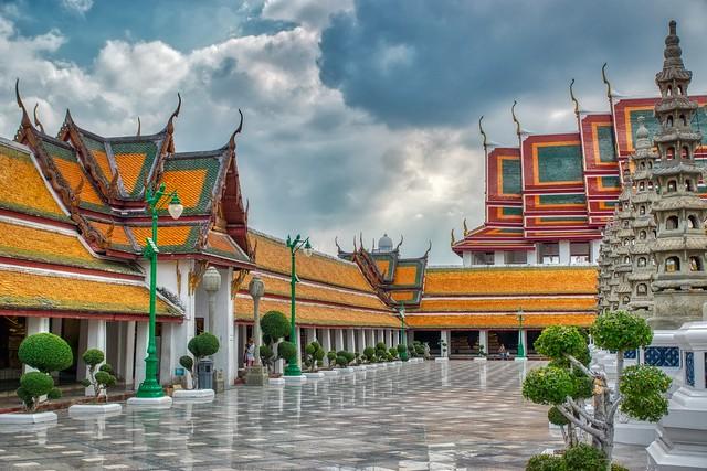 Wat Suthat Thepwararam Ratchaworahawihan on Rattanakosin island (Old Town) in Bangkok, Thailand