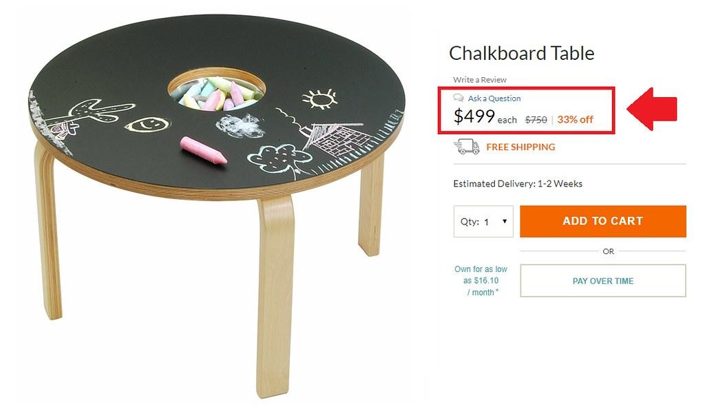 Pre-Fabricated Chalkboard Table