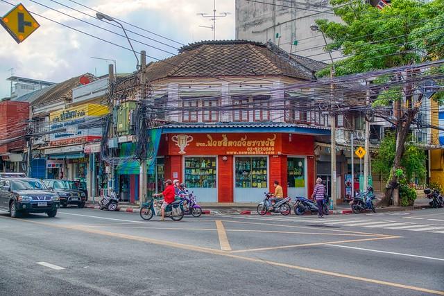 Street corner on Rattanakosin island (Old Town) in Bangkok, Thailand