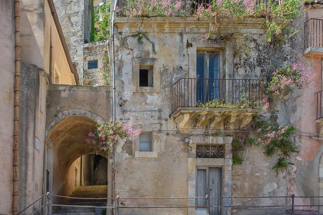 Facade of old building in Ragusa