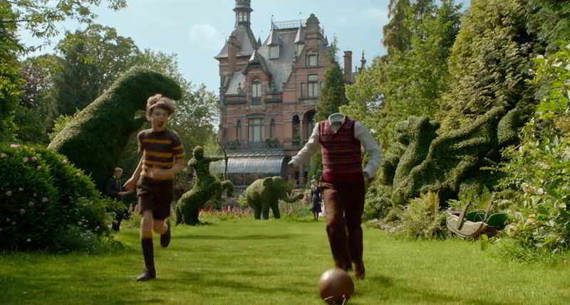 Peculiar Children playing football in the yard of the manor