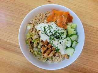 Cabbage, Griddled Tofu, Gravad Carrot, and Creamy Horseradish