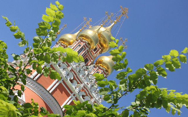 Holy Russia, Moscow Architecture, Golden Cupolas of the Resurrection Church in Kadashi Sloboda, 2nd Kadashevsky Lane, Zamoskvorechye district. Православнаѧ Црковь.