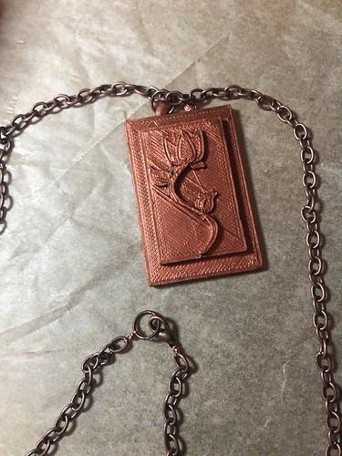 3d printed rose pendant