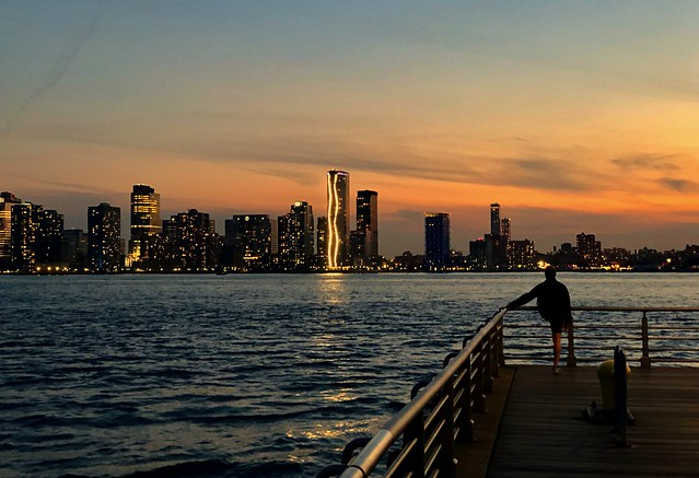 Night skyline - Hudson River Park, New York City