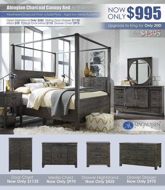 Abington Charcoal Rustic Canopy Bed B3804_June2021