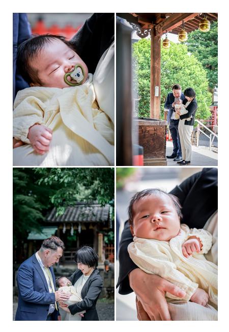 お宮参り パパとママはスーツ姿で 赤ちゃんはベビードレス