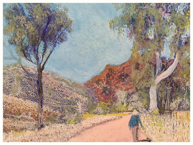 afternoon walk, Central Australia. pastel on paper.
