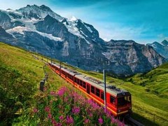 switzerlandu2019s GoldenPass routes that connect Lucerne with Montreux.the journey takes places by a number of rail routes weaved together,the luzern-Interlaken Express, Interlaken to Zweisimmen leg, the GoldenPass Panoramic between Montreux and Zweisimmen.th