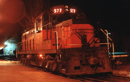 577 sits by the Winona depot on an April night