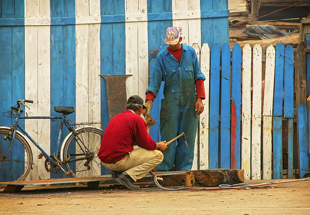 Workers at Essaouira harbor