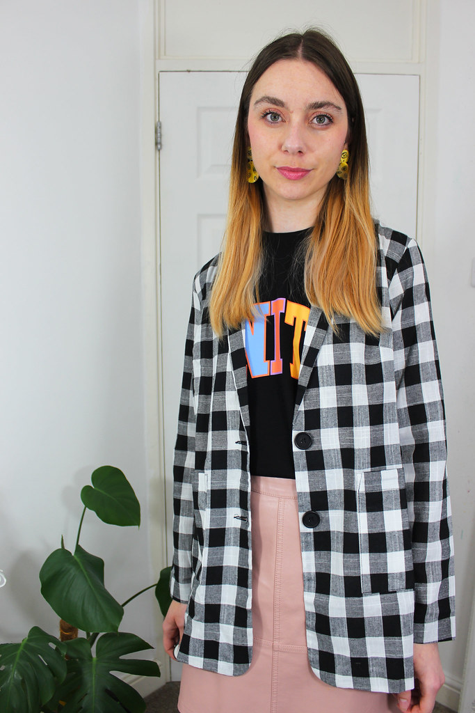 Glaad Unity Vest, Gingham Blazer and a Leather Look Skirt