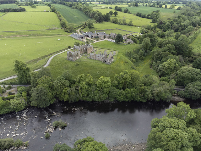 Aerial image: Egglestone Abbey situated on the southern bank of the River Tees in County Durham