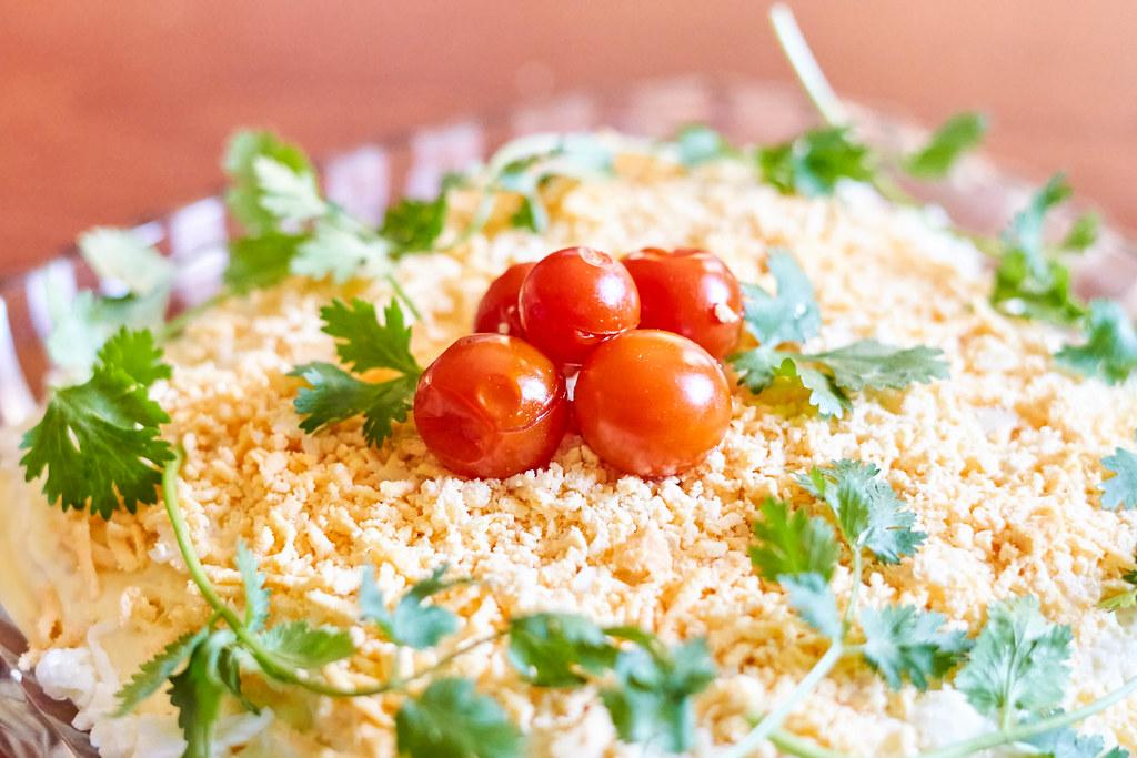 Close-up shot of tasty mimoza salad