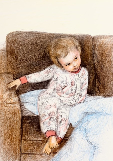 Portrait of my Great Granddaughter, Phoebe Worsfold. Looking coyly at her Grandmother. Coloured pencil drawing by jmsw on card . Last stage.