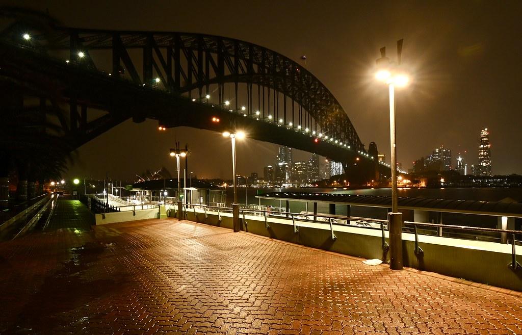 Past mid night .  Milsons point ferry wharf Sydney harbour AUSTRALIA