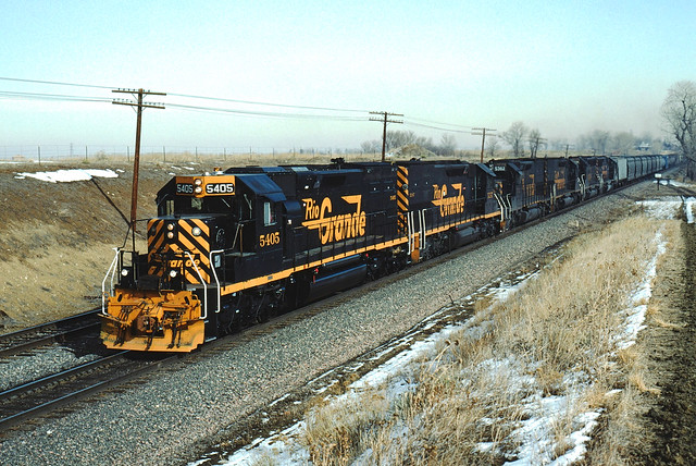 DRGW 5405 #DVROK Westbound at Leyden, CO February 12, 1993