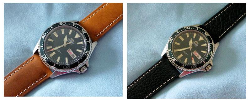 orient leather strap pair