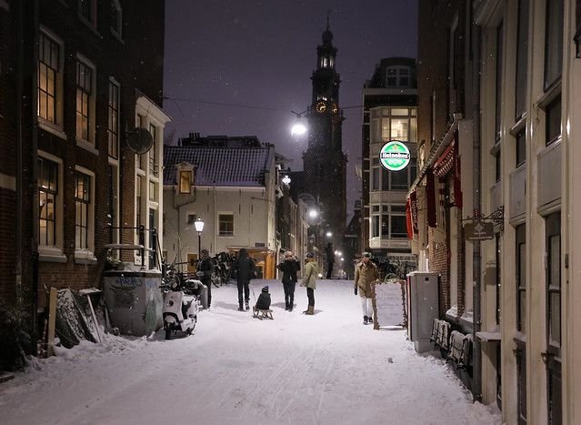 The best glühwein or beer under the snowy Wester tower