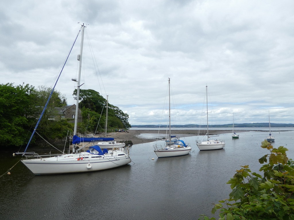 Boats at Cramond harbour,