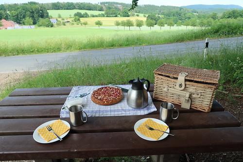 Picknick mit Honig-Rhabarber-Quark-Kuchen und Milchkaffee (Ausblick)