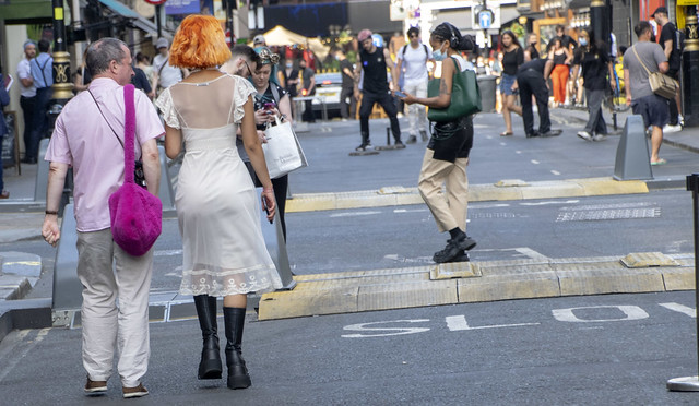 DSC_0782a Old Compton Street Soho London West End Couple with Trendy Lady with Red Hair and Boots