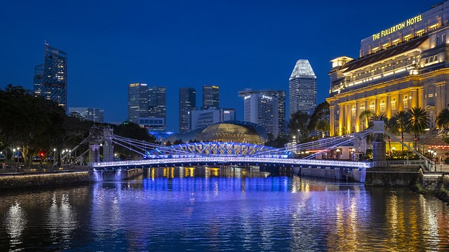 Dancing Lights in Singapore River at Blue Hour [In Explore 22 June 2021]