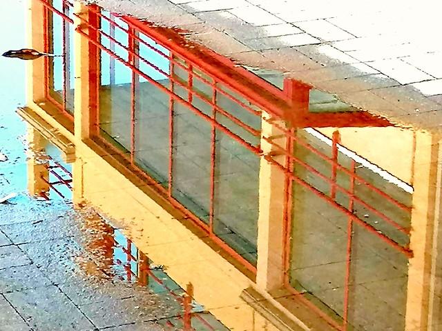 Immeuble se reflétant dans une flaque (2)