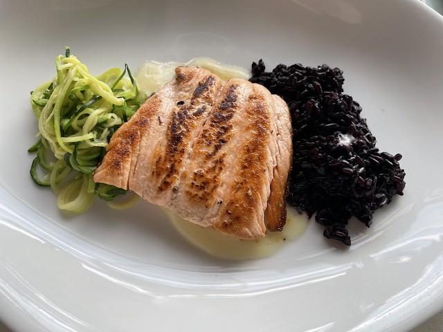 Grilled salmon, Venere rice and zucchini spaghetti, Hotel Saratz, Pontresina, Switzerland