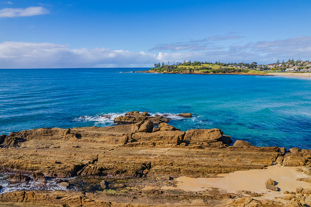 A winters day aerial seascape from Bermagui
