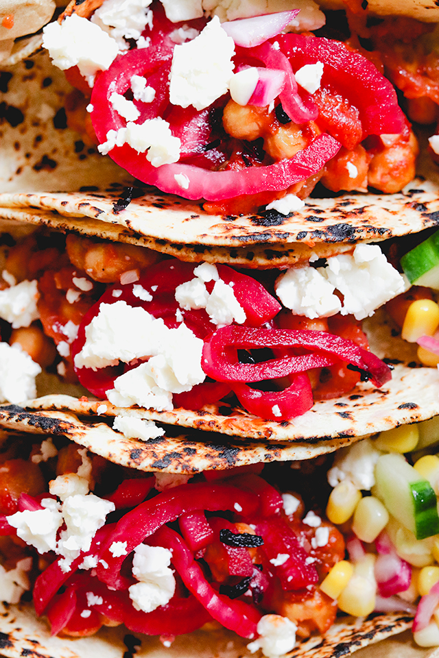 Chickpea Tinga Tacos with Hibiscus-Pickled Onions and Queso Fresco
