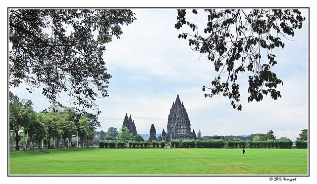 prambanan temple, seen from distance