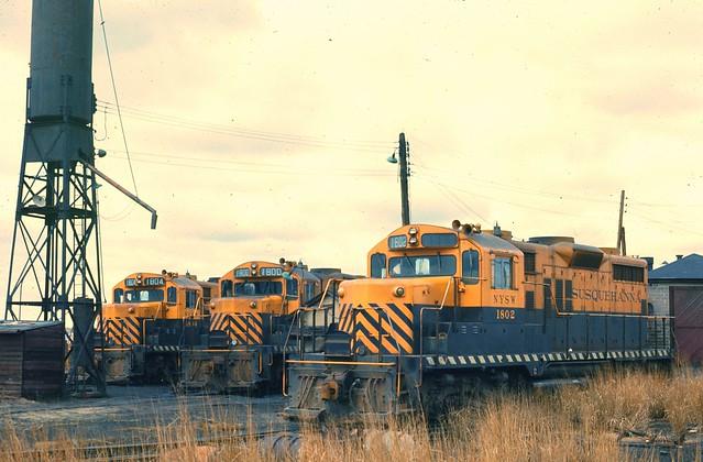 NYS&W GP18 1804, 1800, 1802 Little Ferry NJ April 1974