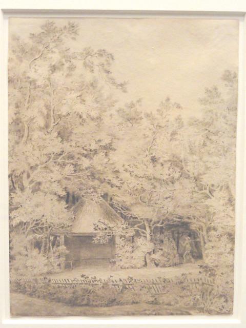 Een paviljoen met een rieten dak in een omheinde tuin (ca. 1799)
