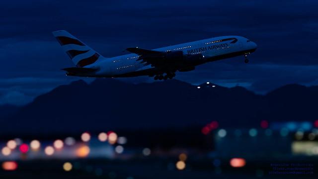 Rising Big A380 Above A Mini YVR in Widescreen