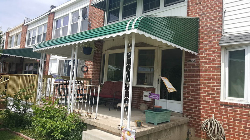 Green Aluminum Awning for Porch-White Columns